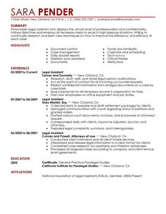 legal resumes | Legal Secretary Resume Sample | Law | Pinterest ...