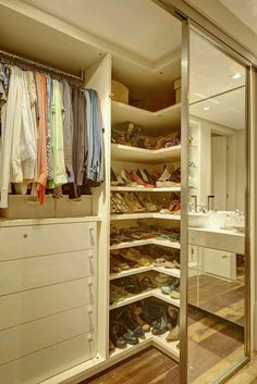 Is your closet overflowing? Here are closet storage ideas to help you gain more control over your closet space. Bedroom Closet Design, Tv In Bedroom, Master Bedroom Closet, Closet Designs, Bedroom Decor, Mirror Bedroom, Bedroom Furniture, Apartment Furniture, White Furniture