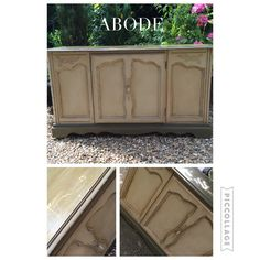 Stunning cabinet painted in Annie Sloan country grey and Olive chalk paint with clear and dark wax with Annies Freya stencil at Abode interiors Ludlow £299
