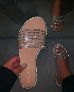 Clear strap Rhinestone detail True to size Bling Sandals, Bling Shoes, Shoes Sandals, Heels, Dsw Shoes, Strappy Sandals, Pretty Sandals, Cute Sandals, Pretty Shoes