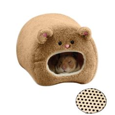 Amazon.com : Rats Hamster Winter Warm Fleece Hanging Cage Hammock House Cute Bear Desige with Bed Mat, for Small Furry Animals : Pet Supplies