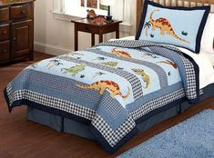 LELVA Childrens Quilt Set Cartoon Dinosaur Bedding Sets Kids Bedding Boys Bedspreads Set Coverlets Set Twin Full Size Twin * You can find out more details at the link of the image. Bed Sets, Bed Linen Sets, Boys Bedspreads, Kids Beds For Boys, Dinosaur Bedding, Kids Comforter Sets, Kids Sheets, Queen Size Quilt, Kids Pillows