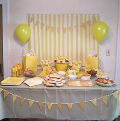 Yellow Birthday Party. Yellow dipped pretzels, cake, and lemonade.