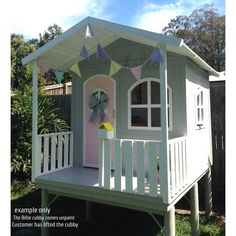 Cubby House Timber  Kids CubbIes  Playhouse Wooden  Can Freight Australia Wide.  Billie cubby lifted and decorated by a Queensland customer. Fantastic colour combination.