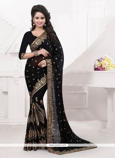 Royal Black Classic Designer Saree Model: YOSAR6670