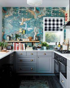Uberlegen Kitchen Wallpaper Ideas   Gray And Teal Eclectic Kitchen Design