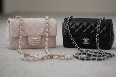 chanel classic mini flap in black caviar and silver hardware $2400