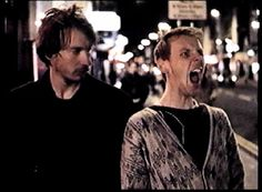 Ewen Bremner, David Thewlis  NAKED  Johnny: You from Scotland?   Archie: EH?   Johnny: Are you Scots?   Archie: Aye.   Johnny: What's it like up there?   Archie: Fuckin' shite.   Johnny: D'you dream in Scotch?   Archie: Eh?   Johnny: Like dream about sporran-clad, caber-tossing haggis galloping over porridge-covered glens?   Archie: FUCKIN' shite!