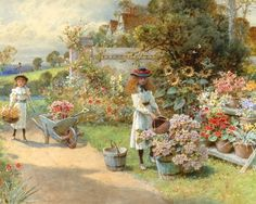Pictures The painting, william stephen coleman, summer, kids, girls, hats