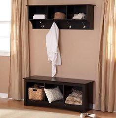 Entryway Bench Mudroom Shelf 2 Piece Set Hall Tree Cubby Nook Black Coat Rack
