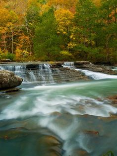 Six Finger Falls. This waterfall is located along Falling Water Creek, at Richland Creek Wilderness Area of the Ozark National Forest; Arkansas.