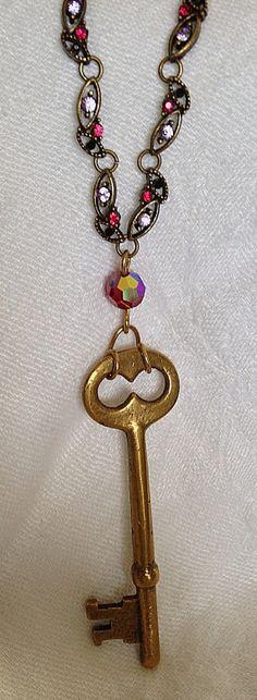Antique skeleton key repurposed necklace by KathleenCaraher, $45.00