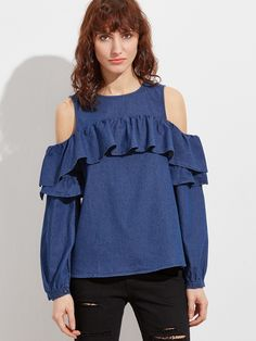 17$  Buy now - http://dini4.justgood.pw/go.php?t=10475 - Navy Cold Shoulder Ruffle Denim Top