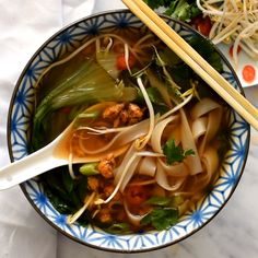 This vegan pho recipe will appease all your cravings for a delicious, intensely flavoured vegetarian pho. Thick slurpy rice noodles in a deliciously spiced umami broth and topped with smoky crumbled t Veggie Recipes, Soup Recipes, Whole Food Recipes, Cooking Recipes, Healthy Recipes, Pork Pho Recipe, Pho Soup Recipe Vegetarian, Recipes Dinner, Vegetarian Asian Recipes