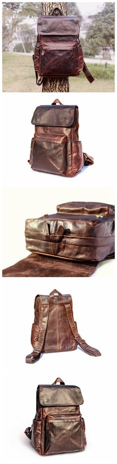 "16"" Men Brown Vintage Genuine Leather Backpack, Tote Backpack, Duffel Backpack, Student Laptop Backpack, School Backpack, Hipster backpack"