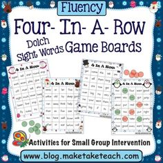 The Make, Take & Teacher holiday and winter themed 4-In-A-Row game boards are perfect for use within your classroom literacy centers. This activity is easily differentiated as you choose the appropriate game board matched to the sight words your students need additional practice.