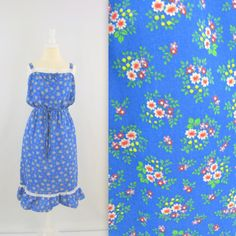 Vintage 1980s Cotton Sundress in Royal Blue Floral  by TwoMoxie