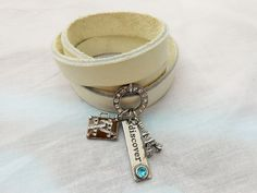 Leather Wrap Bracelet, Triple Wrap Leather Bracelet, White Leather Bracelet, Travel Charm Bracelet, Eiffel Tower, Leather Charm Bracelet by SaveTimeInABauble on Etsy