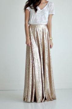 Fashion Champagne Gold Sequin Maxi Women Skirt Zipper Waist Custom Made A-line Floor Length Chic Causal Sequins Long Skirt Saia Mode Outfits, Skirt Outfits, Dress Skirt, Maxi Skirts, Vegas Outfits, Club Outfits, Club Dresses, Long Skirts, Gold Sequin Skirt