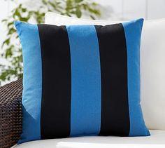 Sunbrella® Rugby Stripe Indoor/Outdoor Pillow #potterybarn