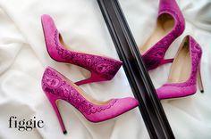Handpainted fuchsia suede pumps | via 31 Best Handmade Wedding Shoes http://emmalinebride.com/bride/handmade-wedding-shoes/