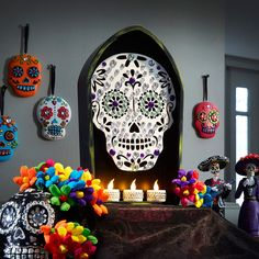 Celebrate the Day of the Dead with a blinged out sugar skull displayed in a coffin shadow box.