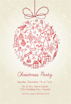 """""""Seasonal Symbols""""  printable invitation template. Customize, add text and photos. Print or download for free!"""