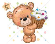 Cupcake Vector, Teddy Bear Cupcakes, Bear Clipart, Cake Clipart, Owl Png, Cute Tigers, Happy Birthday Messages, Love Bear, Cute Owl