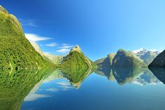 Milford Sound -Aotearoa/New Zealand.Exceptional weather  results in a perfect reflection.