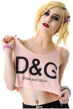 United Couture D&G Crop Top ~ Drunk & Goth