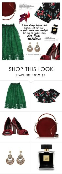 """Florals and Laces"" by shambala-379 ❤ liked on Polyvore featuring Oscar de la Renta, Bertoni and Avon"