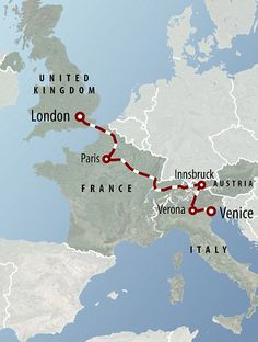 Venice Simplon Orient Express: London to Venice Route. Beginning in LONDON and making stops along the way in Paris France, Innsbruck Austria and Verona Italy and ENDING in Venice!