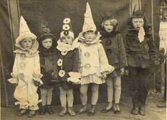 Children in their vintage Halloween costumes