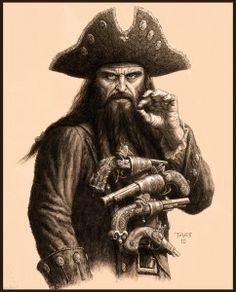 Blackbeard is most likely the most popular (or most notorious) pirate in history. Several historians believe that his real name was Edward Teach and he was a pirate that terrorized areas around West Indies and on the American colonies eastern coast.