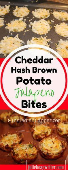Cheddar Hash Brown Potato Jalapeno Bites Appetizer is an easy five ingredient recipe that is so easy and so delicious. This is a perfect appetizer to make for a party large group. Terrific as a leftover too.