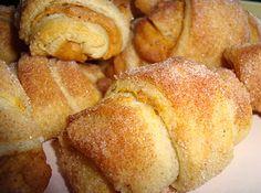 PUMPKIN PIE CROISSANT. Crescent rolls, cream cheese, canned pumpkin, pumpkin pie spice & sugar