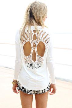 Cream Long Sleeve Tunic with Cutout Crochet Skull Back