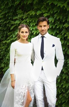 Olivia Palermo in a a three-piece ensemble custom-designed by Carolina Herrera