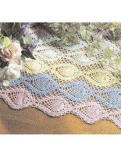Crochet for the Home - Crochet Tablecloth & Table Runner Patterns - Pineapple Rainbow Runner