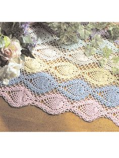 Crochet for the Home - Crochet Tablecloth & Table Runner Patterns - Pineapple Rainbow Runner
