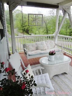 My porch has came a long way!  #exteriors, #shabbychic,  #porch