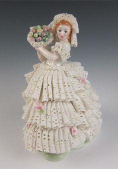 RARE Large Volkstedt Irish Dresden Lace Summer Bride Figurine Deirdre Porcelain   eBay