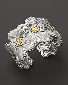"Buccellati ""Blossom"" Cuff Bracelet with Gold Accents - Bracelets - Shop by Style - Fine Jewelry - Bloomingdale'sRegistry Modern Jewelry, Metal Jewelry, Jewelry Art, Jewelry Bracelets, Jewelry Accessories, Fine Jewelry, Jewelry Design, Fashion Jewelry, Bangles"