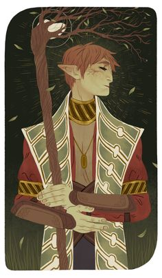 meexart: Inquisitor Lavellan - Page of Wands  http://dragonaging.tumblr.com/post/122220347003/meexart-inquisitor-lavellan-page-of-wands