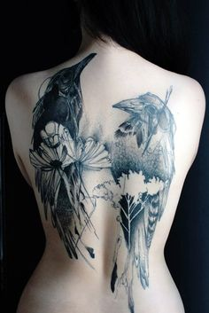 black and white birds, intricate tattoo back piece