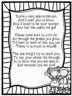 end of year poem to students Pre K Graduation, Kindergarten Graduation, Kindergarten Classroom, Kindergarten Workbooks, Kindergarten Gifts, Preschool Gifts, Preschool Bulletin, Graduation Ideas, End Of School Year
