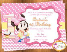 Baby Minnie Mouse First Birthday Invitation - Minnie Mouse 1st Birthday Party Invite - Printable - Digital File - CraftyCreationsUAE