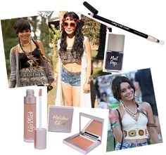 ...Vanessa Hudgens' fun, boho-chic style and effortlessly cool make-up.     Keep your tones nude but grungy with smudged in eyeliner and rockin' nails.