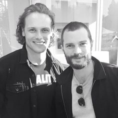 The two Jamies! LOL - Jamie Fraser (aka Sam Heughan) and Jamie Dornan