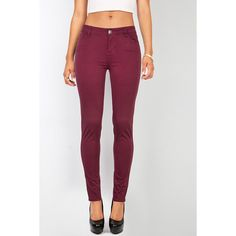 Pink Ice Semi Precious Skinnys ($28) ❤ liked on Polyvore featuring red